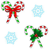 Candy Cane and Snowflake Seamless Christmas Vector Royalty Free Stock Images