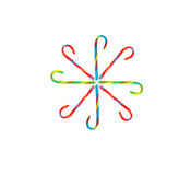 Candy Cane Snowflake on White Background Stock Images