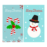Candy Cane and Snowman Christmas Card Royalty Free Stock Image