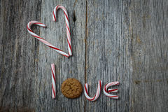 Candy Cane spelling the word love Stock Photo