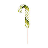 Candy cane  striped on a stick in Christmas colours isolated on a white background Stock Image