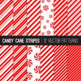 Candy Cane Stripes and Peppermints Vector Patterns in Red and White. Popular Christmas Candy Background. Variable thickness diagonal lines and Sunburst Swirl Stock Image