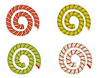 Candy Cane Swirls and Spirals. A clip art illustration of your choice of 4 Candy Cane swirls and spirals isolated on white Stock Images