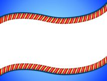 Candy Cane Swoosh Border. A background illustration featuring a candy cane swoosh border with blue and white Stock Photo