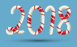 Candy cane 2018 text numbers mint hard striped in Christmas colours stick sugar food holiday decoration sweet xmas. Vector illustration. Traditional peppermint Royalty Free Stock Photography