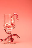 Candy Cane in a Wine Glass Stock Photo