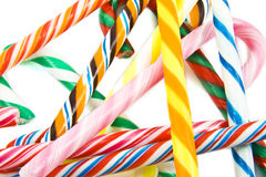 Candy-canes. Colorful candy-canes on a pile  on a white background Stock Image