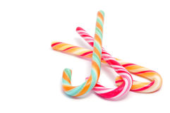 Candy canes. Closeup of some candy canes isolated on a white background Stock Image