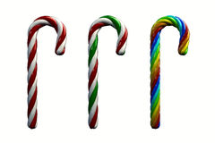 Candy canes. Multicolored candy canes ,3d illustration , isolated on white Stock Images