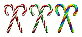 Candy canes. Multicolored candy canes ,3d illustration , isolated on white Royalty Free Stock Photo