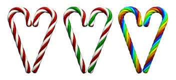 Candy canes. Multicolored candy canes ,3d illustration , isolated on white Stock Photos