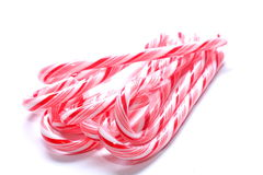 Candy Canes. Isolated shot of candy canes in a bundle on white background Stock Photo