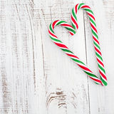 Candy canes as heart Royalty Free Stock Images