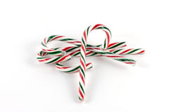 Candy canes beta. Red, green and white striped candy canes stock image