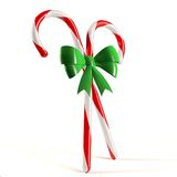 Candy Canes with Bow. Two candy canes with green bow Stock Photo