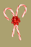 Candy canes and bow Stock Photography