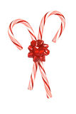 Candy canes with bow Royalty Free Stock Photo