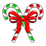 Candy Canes with Bow. Green and red striped Christmas Candy Canes tied with red ribbon bow Royalty Free Illustration