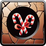Candy canes on bronze cracked web button. Bronze cracked web icon with two candy canes Stock Photo