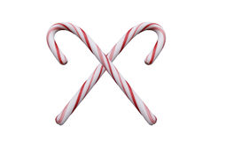 Candy canes for christmas. Isolated on white Stock Photos