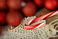 Candy canes Christmas balls Stock Photo