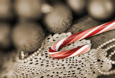 Candy canes Christmas balls Stock Image