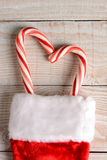 Candy Canes in Christmas Stocking Royalty Free Stock Photo