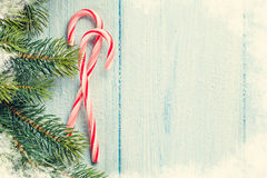 Candy canes and christmas tree Stock Photo