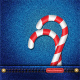 Candy canes in denim pocket Stock Image