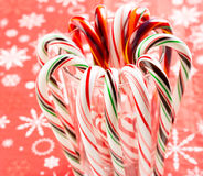 Candy canes forming flower ring Royalty Free Stock Photo