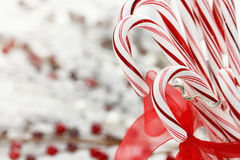 Candy Canes. In a glass dish with copy space Stock Image