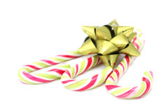 Candy canes with green bow Royalty Free Stock Photography