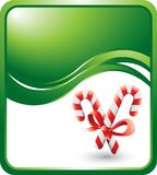 Candy canes on green wave background Stock Image