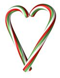 Candy canes heart. Christmas candy canes on the white background Royalty Free Stock Photos