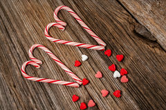 Candy canes,heart,barnwood,background Stock Photo