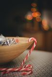 Candy canes on the holiday kitchen Stock Photography