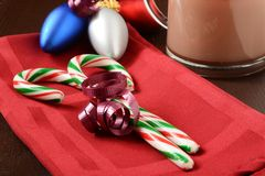 Candy canes and hot chocolate Royalty Free Stock Photography
