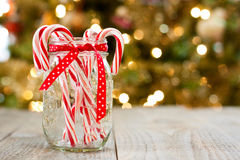 Candy canes in jar Royalty Free Stock Photos