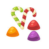 Candy canes and marmalade confectionery vector isolated flat icons Royalty Free Stock Images