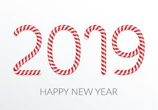 2019 Candy Canes. New year, number 2019 made of candy canes vector illustration