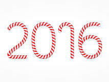 2016 Candy Canes. Number 2016 made of candy canes Royalty Free Illustration