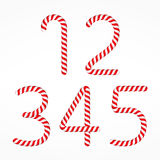 Candy Canes Numbers. Set 1, one, two, three, four and five Stock Photography