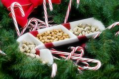 Candy canes and nuts Royalty Free Stock Photography