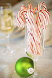 Candy canes and ornaments Stock Photography