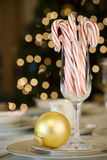 Candy canes and ornaments Stock Photo