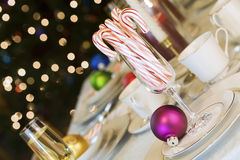 Candy canes and ornaments Royalty Free Stock Image