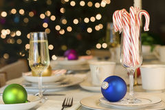 Candy canes and ornaments Stock Image