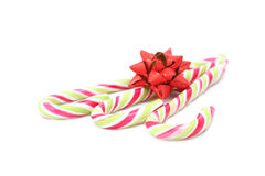 Candy canes with red bow Royalty Free Stock Photography