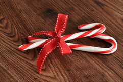 Candy canes with a red bow Royalty Free Stock Image