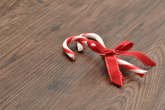 Candy canes with a red bow Stock Photography
